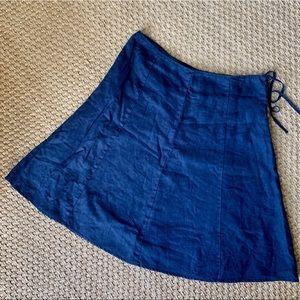 Isaac Mizrahi Dark Blue Linen A-Line Midi Skirt